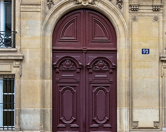 Paris Door Photography Print, Paris Plum Door Photograph, Ornate Vintage Paris Door, Cottage Chic Paris Decor, Paris Fine Art Print