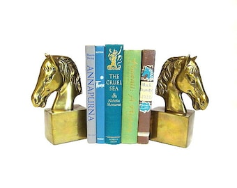 Vintage Brass Horse Head Bookend Pair