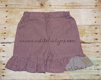 Maroon & White Gingham Ruffle Shorts