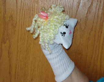 Girl blond curly  Sock Puppet from Puppets by Margie