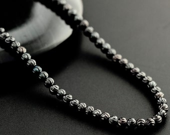 Black Sterling Silver Bead Chain - 3mm Star Cut - 18 inches or 20 inches