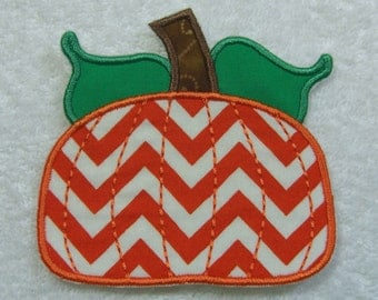 Fall Pumpkin Fabric Embroidered Iron On Applique Patch Ready to Ship