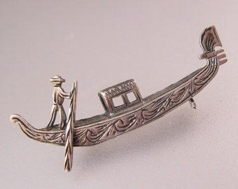 Vintage Venetian Italian Gondola Venice 800 Silver Brooch Pin Fine Jewelry Jewellery