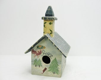Vintage Christmas church birdhouse