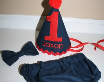 little boy first birthday party outfit, cake smash outfit, navy blue gray with red, 1st birthday, boys diaper cover and bow tie