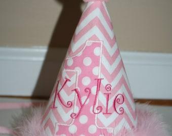 birthday hat girls, girls 1st birthday outfit, pink chevron cake smash outfit, monogrammed first birthday hat