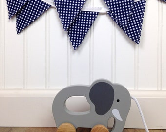 Bunting Banner Mini, Fabric Banner, Fabric Flags, Nautical Baby Nursery Decor, Baby Boy Decor, Birthday Decoration - Navy Blue Gingham