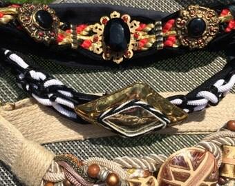 Vintage 1980s Glam Ladies EMbellished Carolyn Tanner Belt Lot Black Red White Beige Brass Rope Stone Buckels Velcro Belts