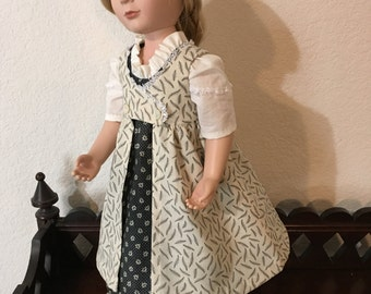 Regency Style Dress with pinafore for 16 inch doll
