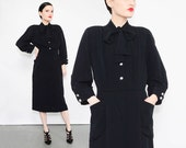 40s Black Crepe Dress Nelly Don Retro Pussy Bow Neck Tie Blouse 1940s Cocktail Party Midi Dress Medium M