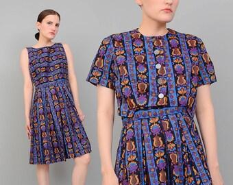 Vintage 50s 60s Striped Floral Cotton Sundress Cropped Bolero Jacket Pleated Full Skirt Retro 2 pc Dress Set Medium M