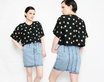 80s 90s Polka Dot Crop Top Oversize Cropped Shirt Button Down Short Sleeve Boxy Blouse Black Tan S M