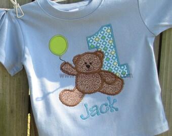 Teddy Bear Birthday Shirt and Hat Boys Blue Teddy Bear Birthday Shirt and Hat Set