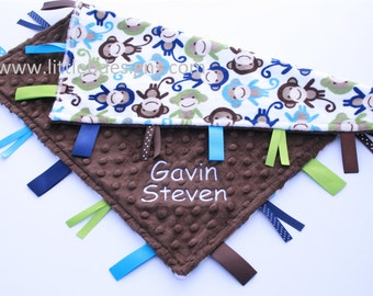 Navy Monkey Minky with Brown Minky Dot Tag Blanket  Ribbon Lovey - Personalized