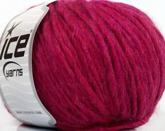 Peru Alpaca Bulky Yarn #39003 Merino Wool Alpaca Acrylic Fuchsia Pink - Ice 50gr