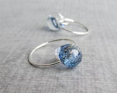 Indigo Sparkle Earrings, Small Wire Hoops, Small Silver Earrings, Blue Lampwork Earrings, Blue Galaxy Earrings, Sterling Silver Earrings