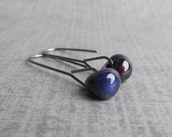 Aubergine Long Dangle Earrings, Dark Purple Glass Earrings, Purple Earrings, Aubergine Earrings Oxidized Silver, Eggplant Earrings Lampwork