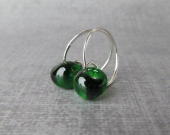 Emerald Green Earrings, Dark Green Hoop Earrings, Handmade Wire Earrings, Small Hoops, Small Silver Earring, Sterling Silver, Lampwork Hoops