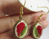 Pomegranate Pizzazz, Real Flower Earrings, Pressed Flower Jewelry, Dangles, Resin(1707)