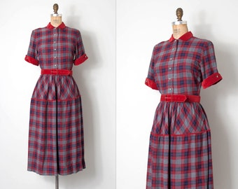 vintage 1940s dress / red and grey 50s plaid wool dress / Welcoming Winter