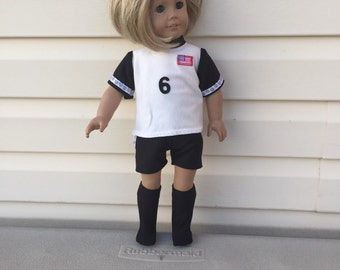 Doll Clothes for American Doll Girl Dolls or Most Other 18 Inch Dolls, Black White Girls Soccer USA Uniform with Number Flag and Socks