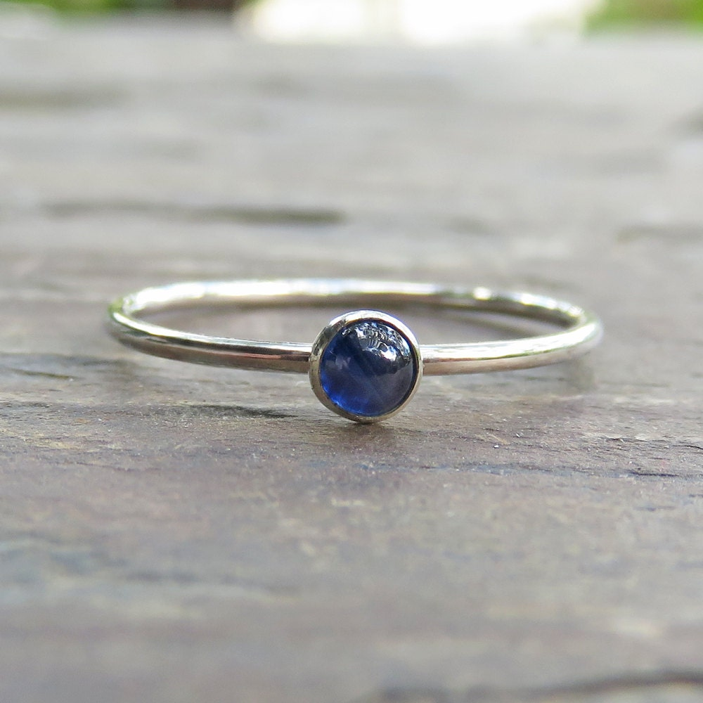3mm tiny sapphire promise ring or stacking ring in sterling