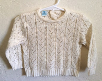 Vintage Baby Girl's 80's Sweater, Cream, Long Sleeve (9-12 mos)