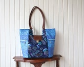 Mimosa Market Tote in Into the Deep Squids, Nautical theme in Navy with brown faux leather
