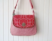The Primrose Satchel Cross Body Bag in Red Katagami Stitch with red essex yarn dyed linen