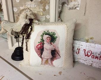 Shabby Jeanne d' arc style Christmas pillow vintage girl