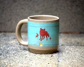 large ceramic coffee mug wheel thrown stoneware unique coffee mug woodland critters fox mug
