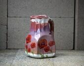 poppy flower  ceramic pitcher handmade ceramic vase