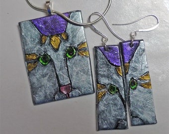 Silver and Purple Cat Pendant and Earrings.  Green-Eyed Beauty. Polymer Clay,