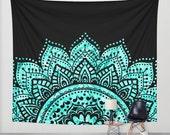 Mandala tapestry/Mandala wall tapestry/Mandala wall decal/Mandalas/teal wall tapestry/blue wall tapestry/blue wall tapestry/dorm decor