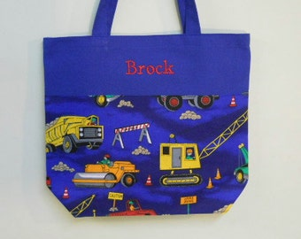 Boy's Tote bag, Personalized Tote bag, Embroidered Tote bag, Toy Bag, Royal Blue bag, Overnight bag, Construction Trucks MINI Bag - MBTB5