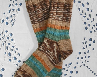 Hand Knit Socks Women Small Medium Tan Green Brown, Superwash Opal Wool Yarn