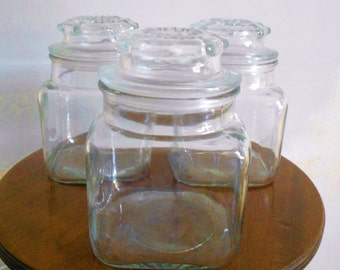 3 Vintage Glass Apothecary Jars Storage Containers Rustic Wedding Candy Buffet