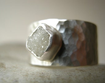 White Rough diamond on Wide Hammered band - Engagement, Wedding, Anniversary Ring in Sterling Silver