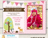Woodland Girl Photo Birthday Party Invitation / Woodland Animals Party / Deer / Fox / Pink DIY invitation / Printed options available