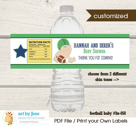 Football Water Bottle Labels / Boy Baby Shower Sports Favors / Football Baby / Printable Print your Own Favor bs-058