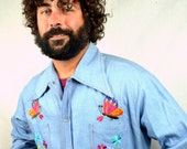 Vintage Embroidered Butterfly Flower Chambray Western Pearl Snap Shirt - Bordados - Hecho en Mexico