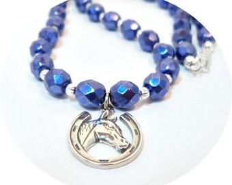 Horse Necklace, Blue Necklace, Equestrian Jewelry, Blue Horse Necklace, Horse Show Jewelry Blue Jewelry, Horse Horseshoe, Horseshoe Jewelry