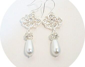Ivory Pearl, Rhinestone Earrings, Bridal Accessories, Dressy Earrings, Pearl Dangles, Bridal Jewelry, Wedding Earrings, Sparkly White Pearl