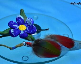 Hair Accessories, Polymer Clay Bobby Pins, Feather Hair Dangler, Cobalt Blue Daisy Hair Accessory, Flower bobby pin, daisy bobby pin