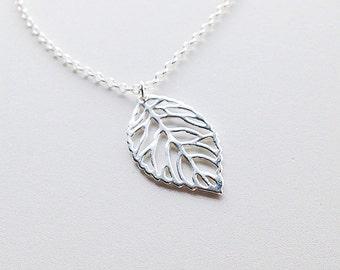Sterling Silver Leaf Pendant Necklace