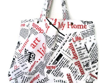 Newspaper print large cotton tote bag White black and red,Newspaper book bag,Lined carry all tote bag