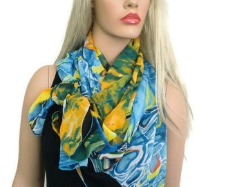 Blue green yellow  chiffon scarf shawl ,abstract print ,beach cover,Sarong/Pareo, pool cover up,oversized scarf,shoulder wrap