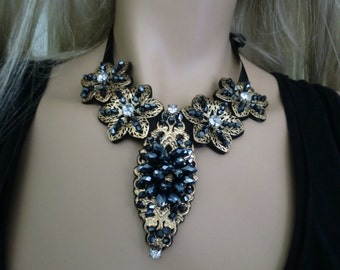 Party Necklace Black and antique brass beaded necklace,Black bib necklace black,Holiday fashion idea,great gift