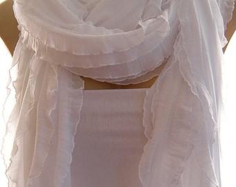FREE SHIPPING Snow white long ruffle scarf  All white ruffled scarf  -Flamenco Superstar