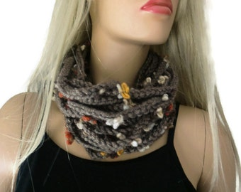 Cappucchino infinity scarf cowl,Unisex  crochet cowl,  coffee , chocolate milk scarf  best friend gift, Bridesmaids gift  -any quantity